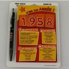 Bloc-notes et Stylo Année de naissance 1958