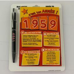 Bloc-notes et Stylo Année de naissance 1959