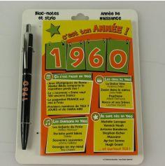 Bloc-notes et Stylo Année de naissance 1960