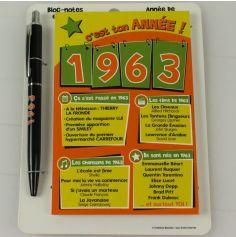 Bloc-notes et Stylo Année de naissance 1963