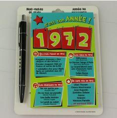 Bloc-notes et Stylo Année de naissance 1972