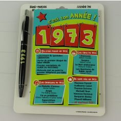 Bloc-notes et Stylo Année de naissance 1973