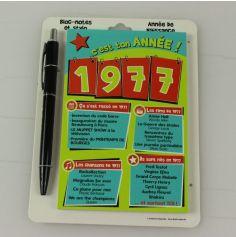 Bloc-notes et Stylo Année de naissance 1977