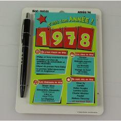 Bloc-notes et Stylo Année de naissance 1978