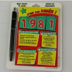Bloc-notes et Stylo Année de naissance 1981