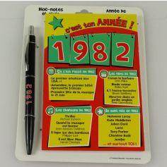 Bloc-notes et Stylo Année de naissance 1982