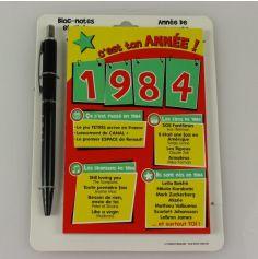 Bloc-notes et Stylo Année de naissance 1984