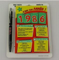 Bloc-notes et Stylo Année de naissance 1986