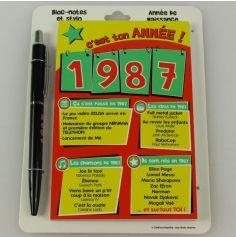 Bloc-notes et Stylo Année de naissance 1987