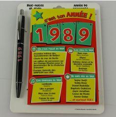 Bloc-notes et Stylo Année de naissance 1989