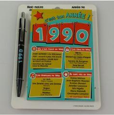 Bloc-notes et Stylo Année de naissance 1990