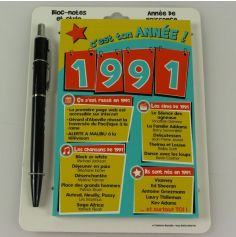 Bloc-notes et Stylo Année de naissance 1991