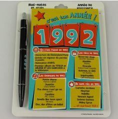 Bloc-notes et Stylo Année de naissance 1992