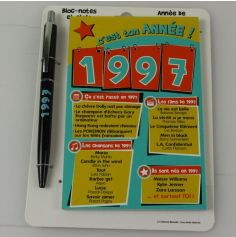 Bloc-notes et Stylo Année de naissance 1997