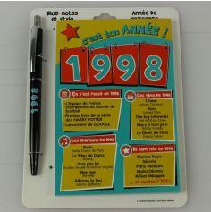 Bloc-notes et Stylo Année de naissance 1998