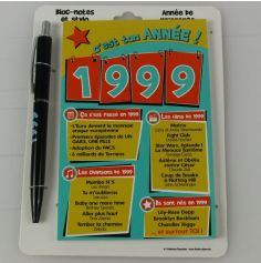 Bloc-notes et Stylo Année de naissance 1999