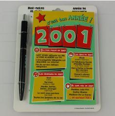Bloc-notes et Stylo Année de naissance 2000