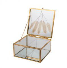 boite en verre couleur or avec fleurs sechees et miroir | jourdefete.com