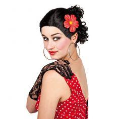Perruque brune danseuse espagnole flamenco