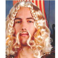 Perruque et Moustache Gaulois Blond Viking