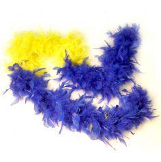 Boa Plumes Jaune et Bleu