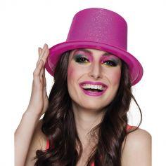 Chapeau haut de forme pailleté rose fluo