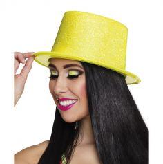 Chapeau haut de forme pailleté jaune fluo