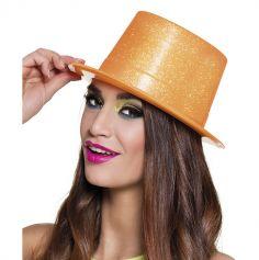 Chapeau haut de forme pailleté orange fluo