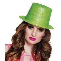 Chapeau haut de forme pailleté vert fluo