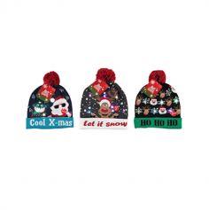 Bonnet de Noël avec LED - Adulte - Couleur au Choix