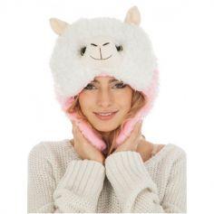 Bonnet Adulte - Lama - Blanc et Rose | jourdefete.com
