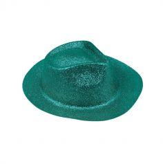 Borsalino à paillettes turquoises