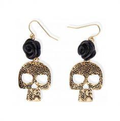 boucles-oreilles-pendantes-fete-des-morts-day-of-the-dead-rose-noire-crane-dore | JOURDEFETE.COM