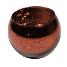 Bougeoir boule rouge métallisé - 10cm
