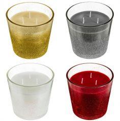 Bougie à 3 mèches dans un pot en verre pailleté - 13.5 cm - Couleur au Choix