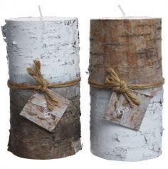 Bougie avec tour en bois de bouleau avec dégradé de Blanc - 14 cm - Haut ou Bas