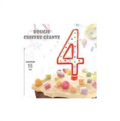 Bougie Géante Pailletée - Chiffre 4 - Couleur au choix