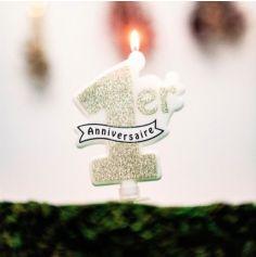 """Bougie """"Mon Premier Anniversaire"""" - Paillettes Champagne"""