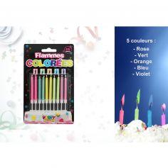 Pack de 10 bougies à flammes colorées