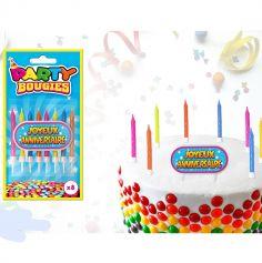 """8 Bougies Multicolores et Totem """"Joyeux Anniversaire"""""""