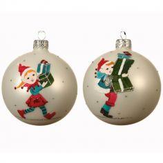 Boule de Noël à Suspendre au Sapin - Lutin avec Cadeaux - Modèle au Choix