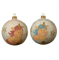 Boule de Noël pour Sapin - Mon Premier Noël - Licorne - 10 cm - Couleur Rose ou Bleu
