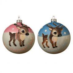 Boule de Noël pour Sapin - Mon Premier Noël - Renne - 10 cm - Couleur Rose ou Bleu