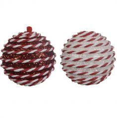 Boule de Noël - Suspension de Sapin - En Mousse - 8 cm - Rouge ou Blanc