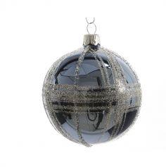 Boule de Sapin de Noël Bleue Rayures Argent - 7cm
