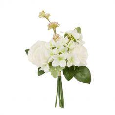 Bouquet de 2 Roses et 2 Hortensias avec Feuillage - Rose ou Blanc