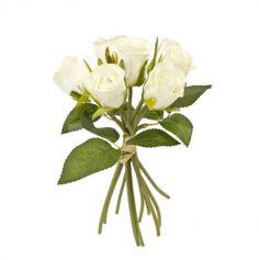 Bouquet de 7 Roses avec Feuilles et Raphia - Couleur au Choix