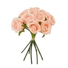 Bouquet de 9 roses avec lien en raphia - Couleur au Choix