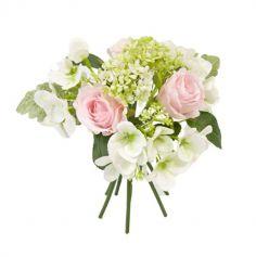 Bouquet de Bouton Rose et Hortensias - Boules Neige - Couleur au Choix