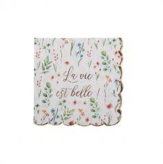 16 serviettes avec fleurs collection brunch time   jourdefete.com